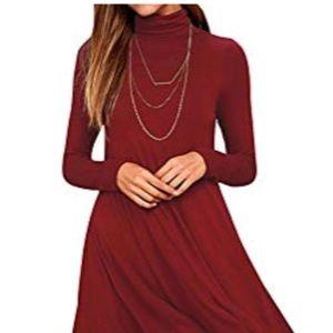 Dresses & Skirts - Women's Casual Turtleneck Long Sleeve Swing Dress